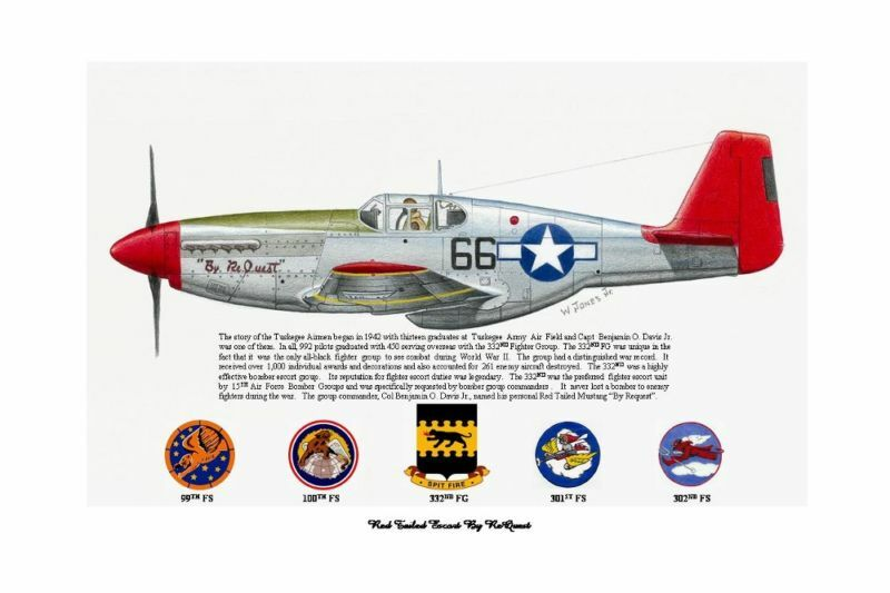 Tuskegee Airmen BO Davis Red Tailed P-51 By ReQuest Art Prints by Willie Jones