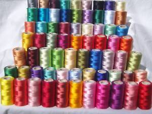 50 Spools of Sewing Machine Silk Art Embroidery Threads