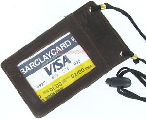 BROWN-LEATHER-MILITARY-NECK-ID-CARD-HOLDER-SNAP-POCKET