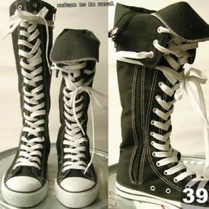 KNEE-HI-TOP-PUNK-ROCK-canvas-BOOTS-8-8-5-BLK-WHITE-39