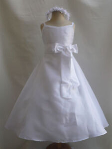NEW-WHITE-EASTER-COMMUNION-FLOWER-GIRL-DRESS-ALL-SIZE