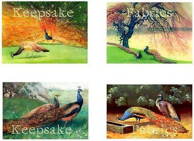 Vintage Colorful Peacocks Cotton Applique Quilt Blocks