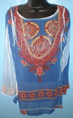Simply Irresistible Womens Sheer Jeweled Printed Tunic
