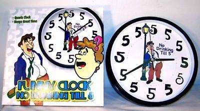 No Drinking Til 5 Novelty Wall Clocks Gags Pranks Liquor Bar Drink