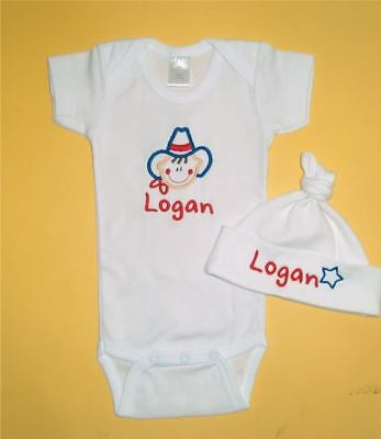 Personalized Cowboy Cowgirl Baby Hat & Creeper One Piece T Shirt Set Outfit
