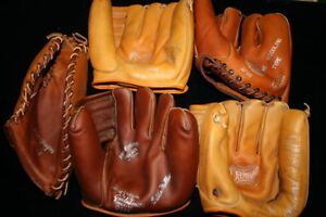 Vintage-Baseball-Gloves-Five-Count-Lot-New-Unused