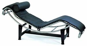 Le Corbusier Leather Chaise Lounge Chair In Black Leather #1184