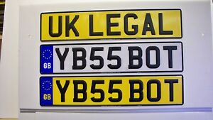 Embossed Pressed  metal Aluminium GB number plates 100% ROAD LEGAL