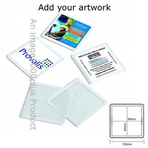 20 NEW SQUARE BLANK 100mm INSERT COASTER JUMBO LOT N1