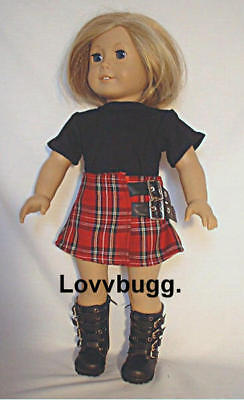 "Lovvbugg Red Plaid Skirt Set w Boots for 18"" American Girl Doll Clothes"