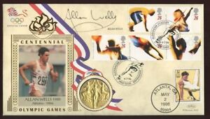 1996 Olympic Perrybarr SIGNED Alan Wells +medal+USA