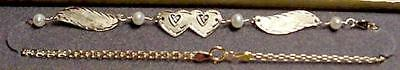 "New 14kt Gold/2 DIA Heart w/Wings 10"" Anklet-Free Engraving-Free Shipping!"