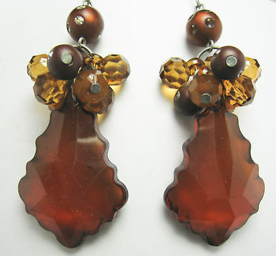 Vintage Style Dangling Faceted Topaz Lucite Rhinestone Earrings