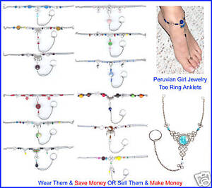 10 ANKLETS CHAIN TOE RING PERU FOOT BODY JEWELRY LOT NR
