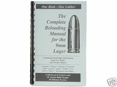 9mm Luger Parabellum Reloading Manual LOADBOOKS USA Latest Ed. NEW