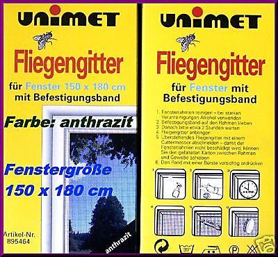 2  Fenster Fliegengitter Insektenschutz 150 x 180 schwarz Moskitonetz Klettband