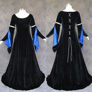 Medieval-Renaissance-Gown-Dress-Costume-LOTR-Wedding-M-Black-Blue