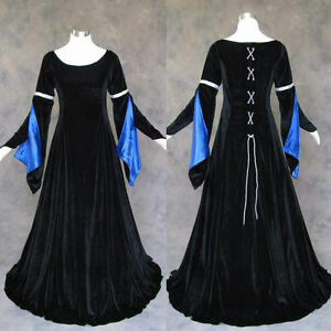 Medieval-Renaissance-Gown-Dress-Costume-LOTR-Wedding-M-Black-Blue