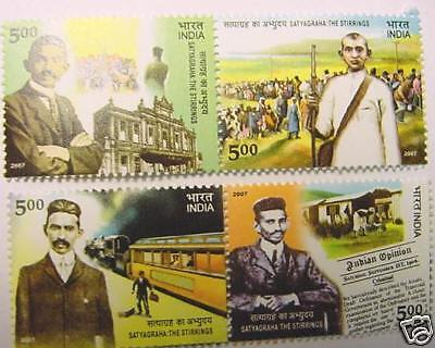 - STAMPS  INDIA- 4 MINT GUM STAMPS - MAHATMA GANDHI -SATYAGRAHA:THE STIRRINGS