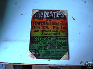 BEATLES-TOWER-BALLROOM-POSTER-STEEL-PLATE-ADVERT-RARE