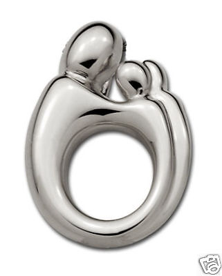 Original Mother And Child Large Twin Or 2 Children Pendant In 14k White Gold