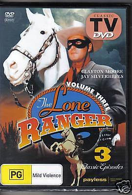 THE LONE RANGER  VOL 3 - DVD - 3 CLASSIC EPISODES - NEW