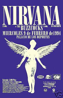 Nirvana & BuzzCocks Concert Poster Circa 1994