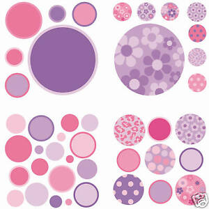 Polka DotS 42 Wall Pops Stickers Room Decor PURPLE PINK Girls Flower Decals dot