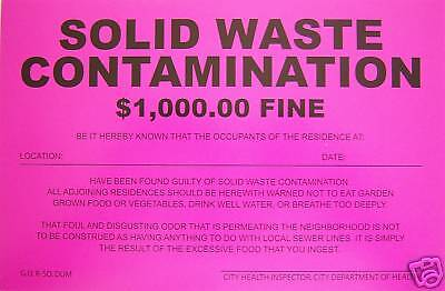 2 Prank Notices... (solid Waste Contamination)... Novelty Sign