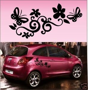 2x-Butterfly-Flower-Vinyl-Car-Graphics-Stickers-Decals