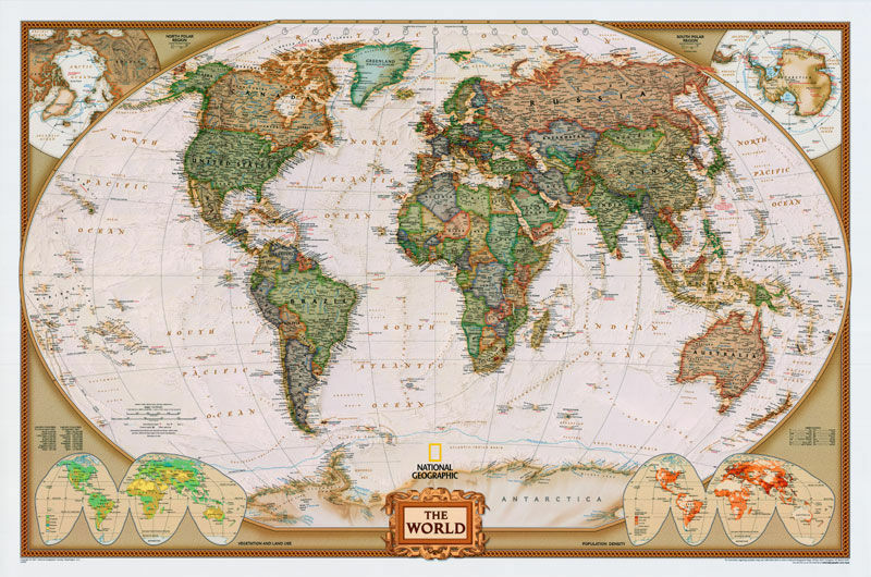 48x78 world classic premier 3d wall map large poster for Executive world map wall mural