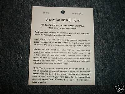 1950 Ford Car Heater Instructions Dash Tag