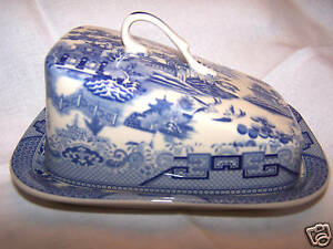 Blue Willow Pattern, Butter / Cheese Dish With Lid New.