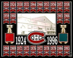 MONTREAL-CANADIENS-24-STANLEY-CUP-BANNER-8x10-PHOTO-MONTREAL-FORUM-RED-BLUE-SEAT