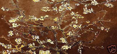 "FLORAL CANVAS ART BROWN VAN GOGH PAINTING 44""x 20"""