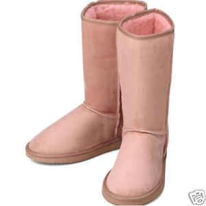 pink suede fur flats snow winter womens boots all size
