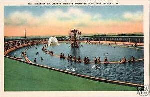 Postcard-Martinsville-Virginia-Liberty-Heights-Swimming-Pool-MINT-Linen-1940s