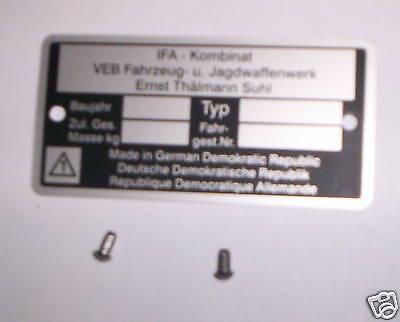 Typenschild,Blanko,Simson,S51,S50,S70,KR51/1,KR51/2,SR 4,Schwalbe,Star,Habicht