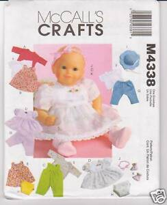 McCall's Sewing Pattern M4338  Baby Doll Clothes 11-13