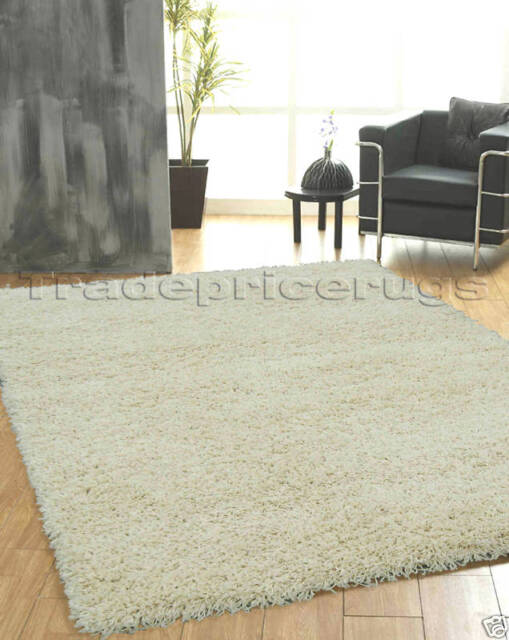 X Large Thick Ivory White Gy Rug 160x230 Cream