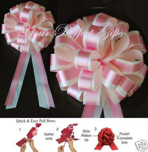 "PINK IVORY WEDDING 8"" PULL PEW BOW BRIDAL DECORATION"