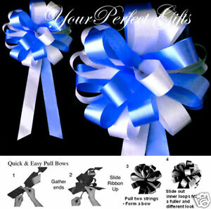 "ROYAL BLUE WHITE WEDDING 8"" PEW BOWS BRIDAL SHOWER CAKE"