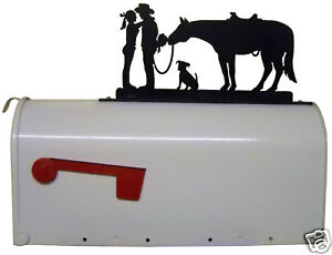Romance mailbox topper metal art cowboy cowgirl horse dog ranch decor