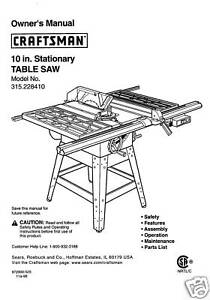Sears Craftsman Table Saw Manual Model # 315.228410