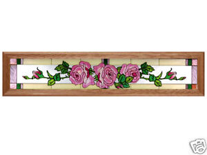 38x8 Stained Art Glass ROSE Flower Floral Framed Suncatcher