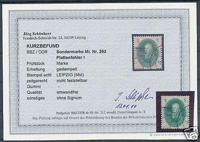 DDR Nr:262 + Plattenfehler I Befund BPP Schönherr  KW = 350,- €