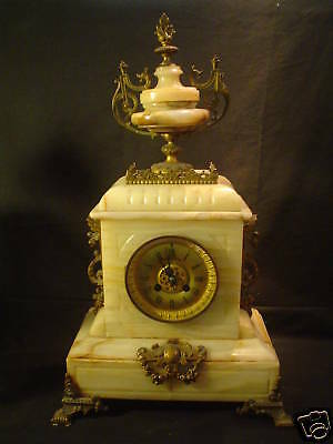 FRENCH 19th C. ANTIQUE MARBLE & BRONZE MANTLE CLOCK