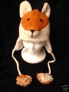 deLux-ADULT-FOX-HAT-knit-animal-mens-womens-winter-Costume-ski-cap-LINED-rusty