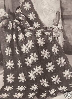 Vintage Crochet Afghan Throw Pattern Rose Flower Motif