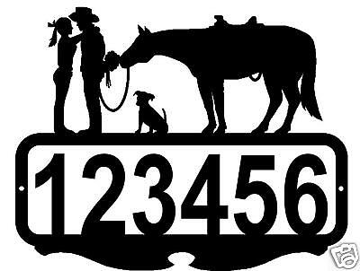 CUSTOM NAME ADDRESS SIGN COWBOY COWGIRL HORSE DOG WESTERN METAL ART HOME DECOR
